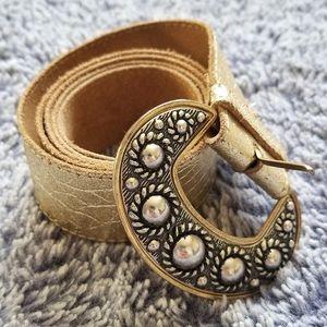 Gold Leather Belt